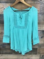 Maurices Women's Turquoise Open Weave Lace Panel Peasant Top Size S