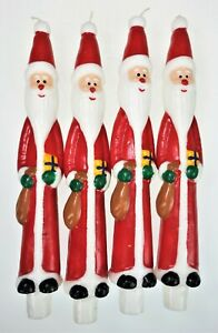 "4 Santa Taper Candles 10"" Retro St Nick Christmas Holiday Movements"