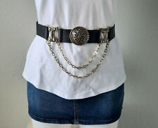 Vtg Classy Black Faux Leather Waist Belt 2 Gold Drop Chains & Medallion Adjust