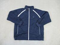 VINTAGE Nike Jacket Adult Large Blue White Swoosh Windbreaker Coat Men 90s A37*