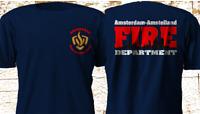 New Brandweer Amsterdam AJAX Fire Department Fire Fighter Navy T-Shirt S-3XL