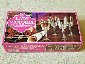 NEW - LADY VICTORIA FINE CRYSTAL STEMWARE CHANTELLE (4) 6 oz. WHITE WINE GLASSES