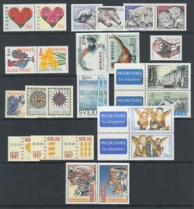 Sweden Sc 2217/2262 MNH. 1997-98 issues, 11 complete sets, fresh, bright, VF.