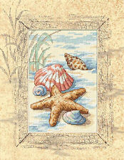 Cross Stitch Kit ~ Matted Accents Seashells In The Beach Sand W/ Mat #6956