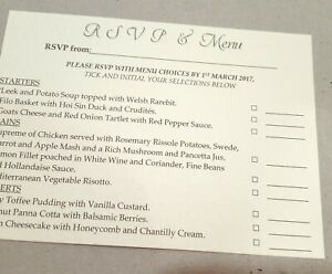 Wedding RSVP / Menu choice cards for invitations - kraft white & ivory