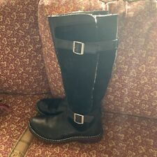 UGG Black Suede & Leather Dunwich RIDING Tall Boots # 5187 Buckle Straps Size 7