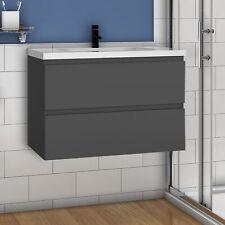 Badmöbel Set Waschtisch mit Unterschrank Becken Anthrazit 50 60 80 100 120 cm