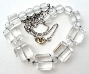 """Clear Crystal Bead Necklace 18"""" Long Chain Vintage Square Beads Cubes Jewelry"""