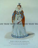 Antique Print 23-293  Fashion - Marguerite de Lorraine  c.1830 Fashion