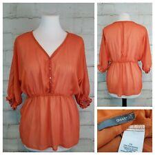 Smart Set S Burnt Orange Sheer Peplum Peasant Blouse Top Dolman Half Sleeves