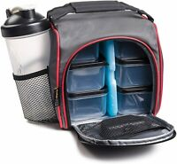Insulated Meal Prep Lunch Bag + Food Portion Control Containers + Ice Pack