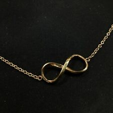 9ct. Gold Plated 375 Silver Filled Small Thin Bracelet with Infinity Sign #568