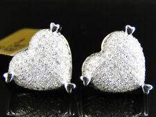Ladies 10K White Gold 16 MM Pave Diamond Puffed Heart Stud Earrings 1.25 Ct