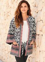 Striking Silky Feel Border Print Kimono Sleeve Cover up Jacket with pockets