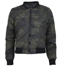 New Womens Military MA1 All Over Camouflage Print Padded Bomber Jackets 8-16