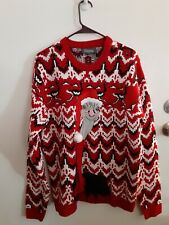 33 Degrees Ugly Christmas Sweater Red/ White/Black Ostrich Size Large