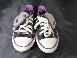 Converse All Star Black & Purple Canvas Shoes Youth Girls Size 11