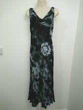 Country Casuals Petite Black Blue Devore Silk Mix Cowl Neck Midi Dress Size 10