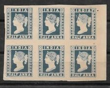 India 1854 QV 1/2a blue official reprint block 6 with SPECIMEN overprint on back