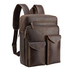 "Genuine Leather Backpack Men Travel 16"" Laptop Satchel Daypack Book School Bag"
