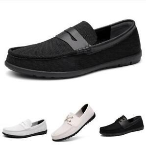 Herren Canvas Fahren Mokkasins Schuhe Schlupf Loafers Flach Casual Halbschuhe
