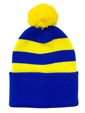 Blue and Yellow Traditional Style Bobble Hat - Made in the UK