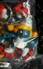 Vintage Smurfs 1980s Rollerskate Smurfette Sassette Keychain Sealed Bag of 6