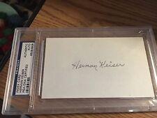 Herman Keiser 1946  Masters Champ Signed 3x5 index Card PSA DNA Slabbed
