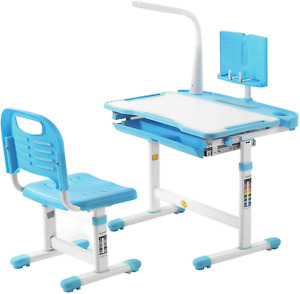 Kids Desk and Chair Set Height Adjustable Children Study Table with Light, Home