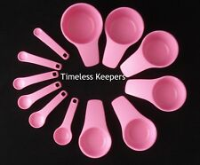 FREE SHIP TUPPERWARE MEASURING CUPS & SPOONS improved Set 12 pic baking New Pink