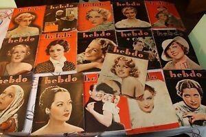 lot de 16 HEBDO/reportages,ciné,modes,conte,roman,programme radio 1933 a 1935