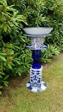Hand made pottery and china Pedestal Bird Bath in Blue