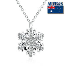 Lovely 18K White Gold Filled Clear Crystal Zircon Snowflake Necklace Gift Party