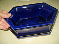 Vtg Rectangular Ceramic Pottery COBALT BLUE Gold Band Planter Dish Decor Display