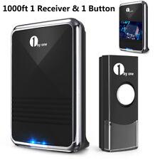 1byone Wireless Doorbell Waterproof 1000ft Range Door Bell 1 Receiver & 1 Button