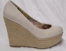 Steve Madden Marryy Platform Wedges Pumps Off White Canvas Espadrilles 7.5 Shoes