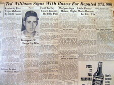 <1947 newspaper TED WILLIAMS SIGNS $75,000 Contract with BOSTON RED SOX Baseball