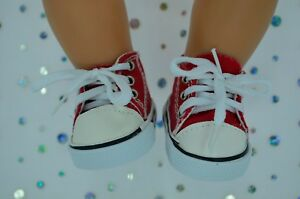 """Dolls Shoes For 17""""Baby Born~18""""American Girl RED CANVAS RUNNERS"""