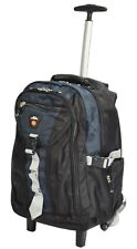 Small Cabin Size 2 Wheel Hiking Backpack Sports Work Office Travel Rucksack Blue
