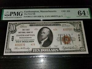 1929 $10 National Bank Note Type 2 East Hampton Massachusetts PMG 64 EPQ