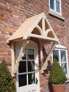 """Timber Front Door Canopy Porch, """"BLAKEMERE SCROLLED GALLOWS""""awning canopies"""