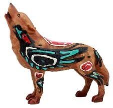 "6.25""L Howling Wolf w Tribal Raven Crow Totem Spirit Figurine Statue"