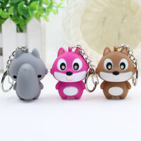 Key Chain Keyring LED with Sound Bag Pendant Mini Flashlight Kids Toy Squirrel