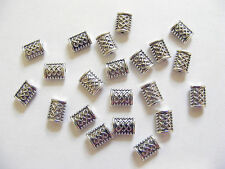 30 Rectangle Spacer Beads - 7mm x 5mm, Metal Antique Silver