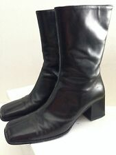 ENRICO ANTINORI BLACK ZIP UP BOOTS CHUNKY HEELS SIZE EU 37 US 6.5  $475