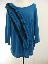 NEW DIRECTIONS WOMENS TEAL BLUE / BLACK BLOUSE WITH DESIGN SIZE 1X ,NWT