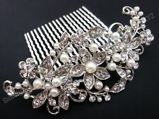 Bridal Wedding Jewelry Crystal Rhinestone Beautiful Flower Wave Hair Comb Pin