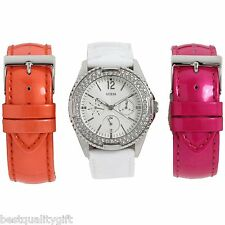 GUESS WHITE,PINK,ORANGE LEATHER 3 PC BAND SET+SILVER TONE CRYSTAL WATCH U12624L2