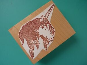 Unicorn w/Roses in Mane Rubber Stamp