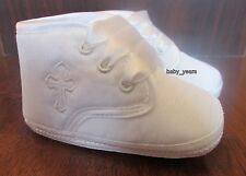 BABY BOYS CHRISTENING SHOES WHITE IVORY SOFT BOOTS CROSS EMBROIDERY 1-12 MONTHS